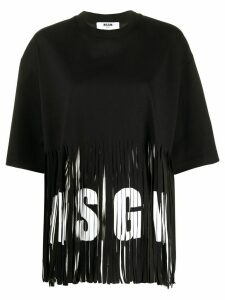 MSGM fringed logo T-shirt - Black