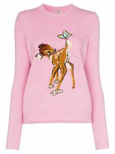 Miu Miu intarsia-knit wool jumper - PINK