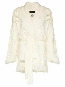 Alanui tie-waist knit cardigan - White