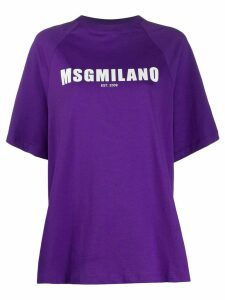 MSGM logo printed T-shirt - PURPLE