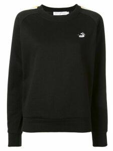 GOODIOUS side stripe crew neck sweatshirt - Black