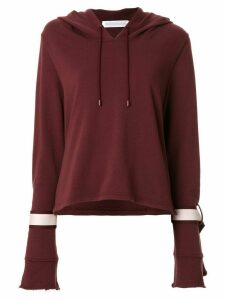 GOODIOUS tie-sleeve boxy hoodie - Red