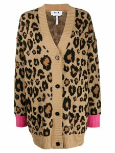 MSGM leopard print cardigan - Brown