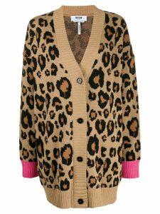 MSGM leopard print cardigan - Brown
