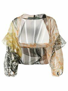 Silvia Tcherassi sheer printed silk blouse - Yellow