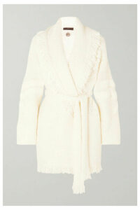 Alanui - Fringed Merino Wool-blend Jacquard Cardigan - White