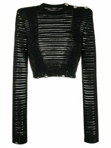 Balmain ribbed sheer long-sleeved crop top - Black