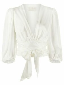 Alexandre Vauthier tie knot cropped blouse - White