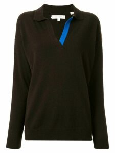 Chinti and Parker collared v-neck jumper - Brown