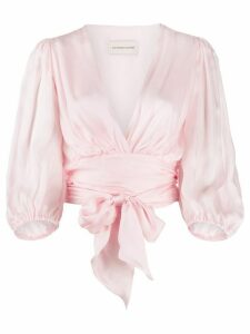 Alexandre Vauthier tie knot cropped blouse - PINK