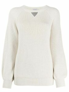 Brunello Cucinelli ribbed knit bell sleeve jumper - NEUTRALS