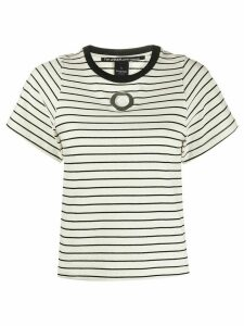 Pinko eyelet detail striped T-shirt - White