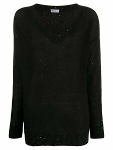 Brunello Cucinelli sequin-embellished loose-fit jumper - Black
