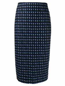 Victoria Beckham houndstooth pencil skirt - Blue