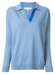 Chinti and Parker collared v-neck jumper - Blue