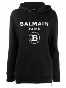 Balmain logo print hoodie - Black