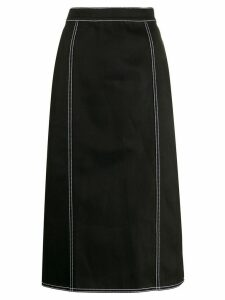 Alexander McQueen contrast stitching pleated skirt - Black
