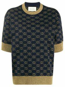 Gucci Interlocking G jacquard-knit top - Blue