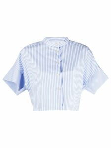 Erika Cavallini striped cropped shirt - Blue