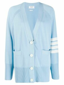 Thom Browne 4-bar Exaggerated Raglan Sleeve Cardigan - Blue
