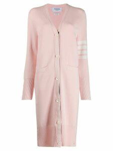 Thom Browne 4-Bar Milano Long V-Neck Cardigan - PINK