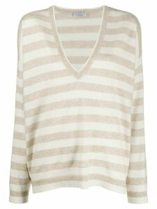 Brunello Cucinelli slouchy striped jumper - NEUTRALS