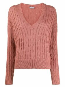 Brunello Cucinelli v-neck jumper - PINK