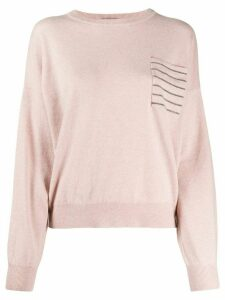 Brunello Cucinelli monili-embellished jumper - PINK