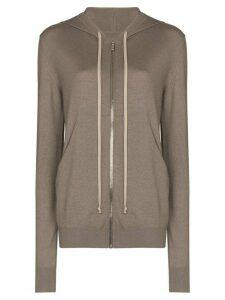 Rick Owens zip-up cashmere hoodie - NEUTRALS