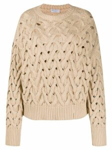 Brunello Cucinelli slouchy open knit jumper - NEUTRALS