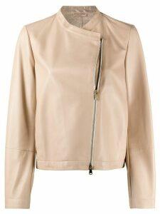 Brunello Cucinelli collarless boxy-fit jacket - NEUTRALS