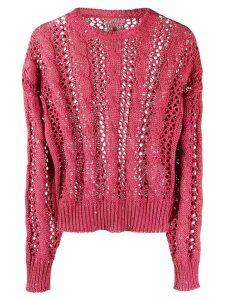 Brunello Cucinelli sequin-embellished open-knit jumper - PINK