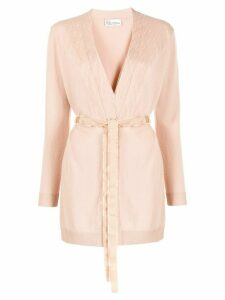 Red Valentino tulle panel belted cardigan - PINK