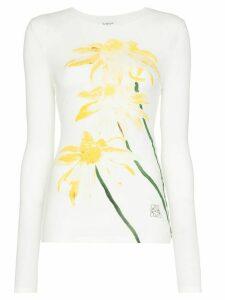 Loewe long-sleeve daisy print T-shirt - White