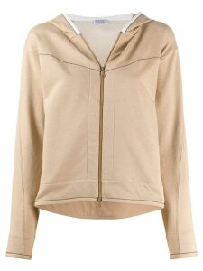 Brunello Cucinelli rhinestone-trimmed zip-up hoodie - NEUTRALS
