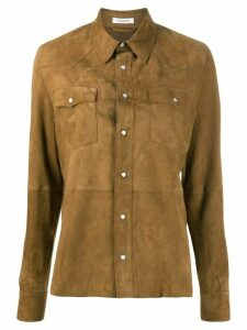 P.A.R.O.S.H. suede regular shirt - Brown