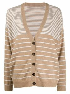 Brunello Cucinelli oversized striped cardigan - NEUTRALS