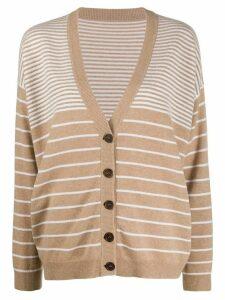 Brunello Cucinelli oversized striped cardigan - NEUTRALS
