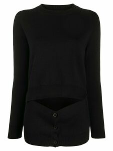 Alexander McQueen cut out buttoned jumper - Black