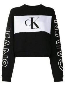 Calvin Klein Jeans colour-block cropped sweatshirt - Black
