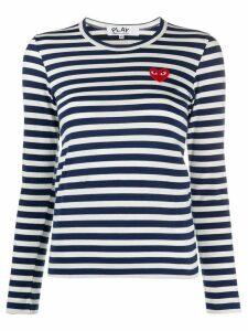 Comme Des Garçons Play striped logo patch top - Blue