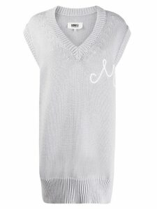 Mm6 Maison Margiela long sleeveless knitted jumper - Grey