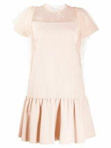 RedValentino ruffled T-shirt mini dress - NEUTRALS