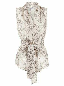 Brunello Cucinelli geometric print wrap-style blouse - NEUTRALS