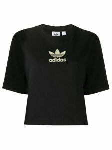 adidas logo embroidered cropped T-shirt - Black