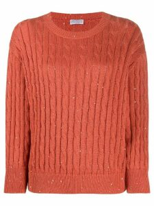 Brunello Cucinelli sequin-embellished cable knit jumper - ORANGE