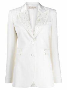 Emilio Pucci bead embellished lapel blazer - White