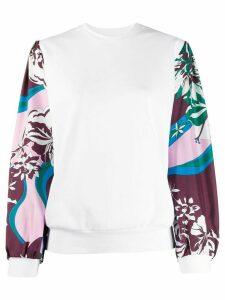 Emilio Pucci Vahine-printed sleeves sweatshirt - White