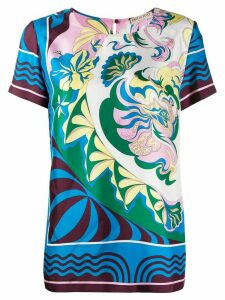 Emilio Pucci printed shortsleeved blouse - Blue
