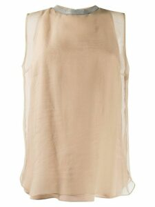 Brunello Cucinelli brass-embellished silk top - Brown